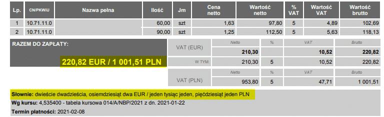 Podsumowanie w PLN na dokumentach walutowych
