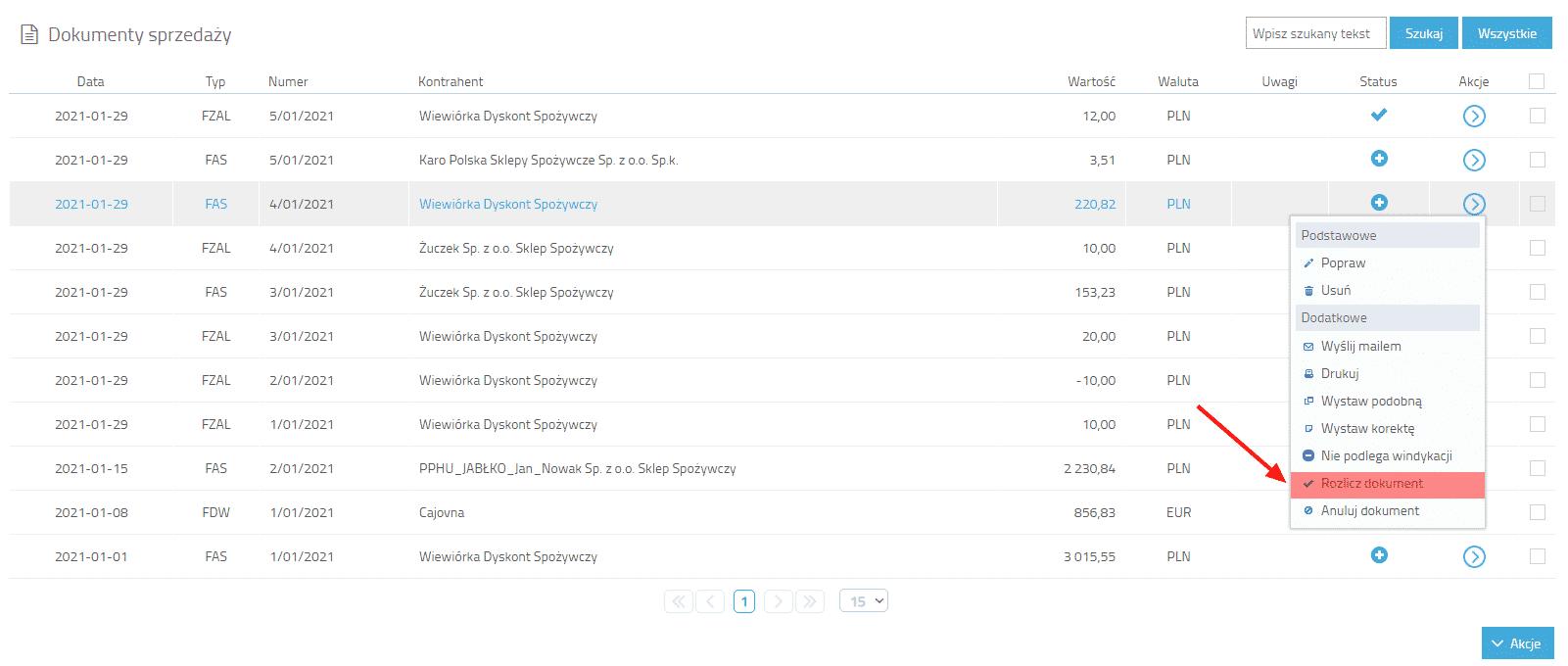Akcja rozlicz dokument z poziomu listy dokumentów