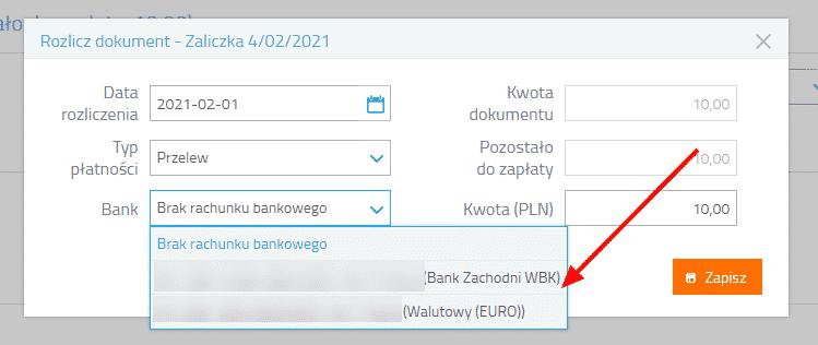 Wprowadzanie spłaty rozliczającą dokument