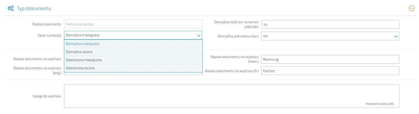 Seria numeracji w typach dokumentów