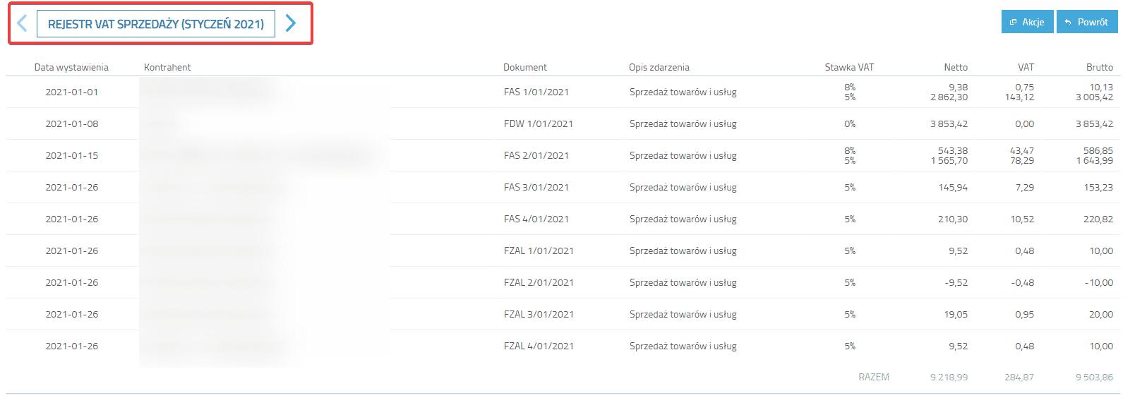 Nawigacja w Rejestrze VAT