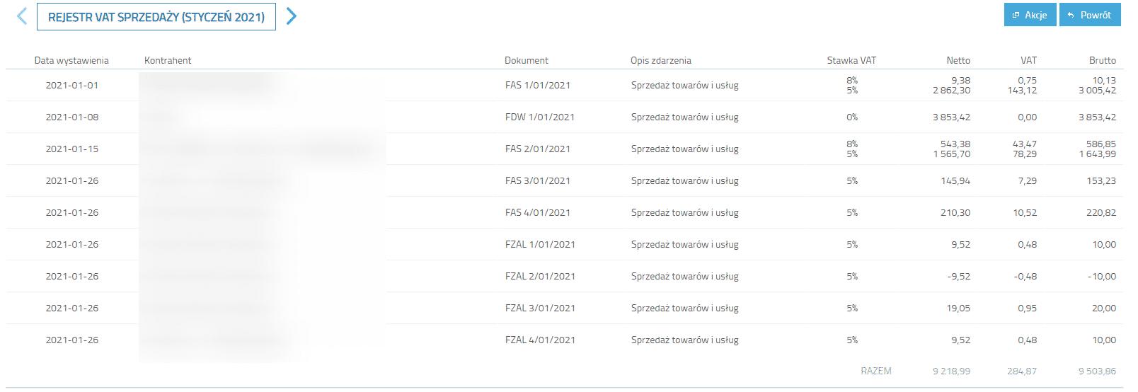 Lista dokumentów w miesiącu